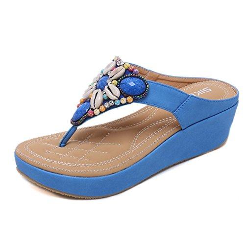 Mule De Compensée D'eté Bleu Porter Sandales Style À Comfortable Casuel Clip Fanessy Plage Chaussure Femme Tongs Perlés Paillettes Bohème Toe Mode En qttY4Z
