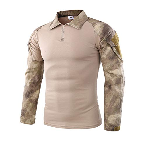 Hot Sale,WUAI Clearance Mens Casual Shirts Camo Printed with Pocket Tactics Army Beefy Muscle Basic Stylish Tops(Yellow-A,US Size M = Tag L) ()