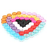5G/5ML Container Cosmetic Jars with MultiColor Lids 60 Pcs for Makeup Cosmetic Samples, Small Jewelry, Beads, Nail Charms and Accessories by POVAD (5G/5ML Container × 60)