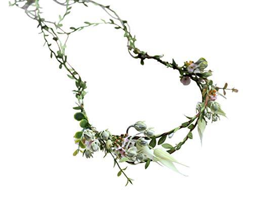 Vivivalue Vine Flower Crown Boho Flower Headband Hair Wreath Floral Headpiece Halo with Ribbon Wedding Party Festival - Wedding Hippie