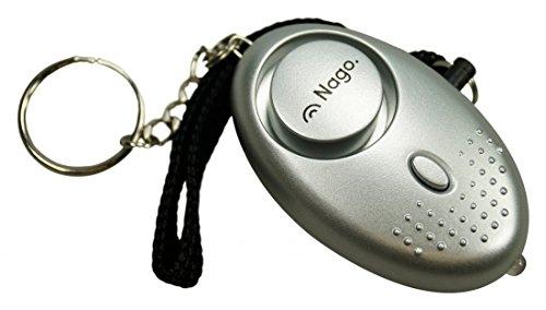 NAGO Mini Alarm Schlüsselanhänger Taschenalarm Notfallalarm Panikalarm mit LED Leuchte Sirene 140 dB silber