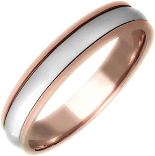 Platinum and 18K Rose Gold Center Stripe Men's Comfort Fit Wedding Band (5mm)
