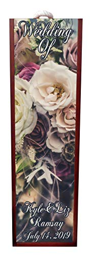 Wedding Of - Wine Stopper Wedding - Vintage Style Roses - Wine Box Personalized - Wine Box Rosewood with Slide Top - Wine Box Holder - Wine Case Decoration - Wine Case Wood - Wine Box Carrier ()