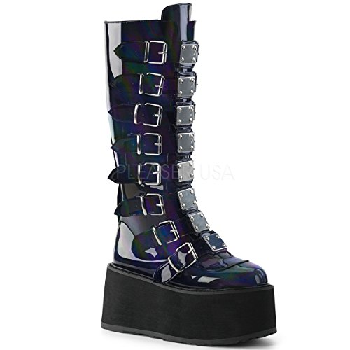 Demonia Women's Damned-318 Knee High Boot, Black Hologram Vegan Leather, 6 M US Demonias Knee Boots