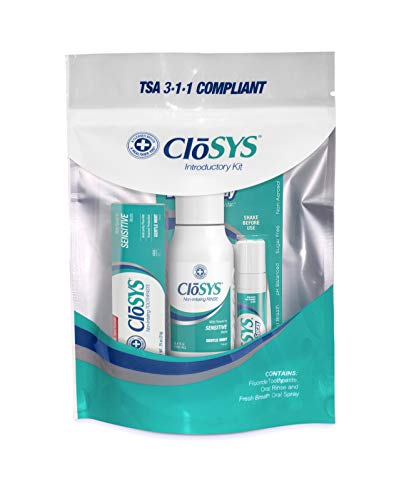 CloSYS Oral Care Trial Size Kit, Mouthwash, Toothpaste, Breath Spray, Travel Size, TSA Compliant