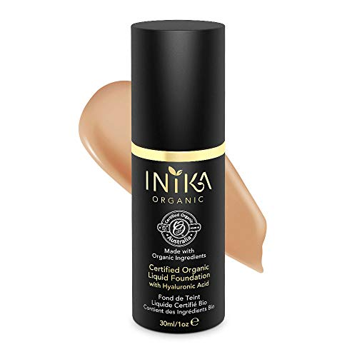 (INIKA Certified Organic Liquid Foundation with Hyaluronic Acid All Natural Make-up Base, Flawless Long-Lasting Coverage, Lightweight, Hypoallergenic 30 ml (1oz) (Beige))