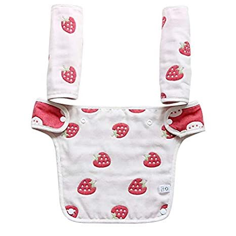 Hothuimin Baby Infant Drool and Teething Reversible Cotton Pad Bib 3-Piece Set for All Carry Position Baby Carrier High Absorbent Unisex Design - White Strawberry
