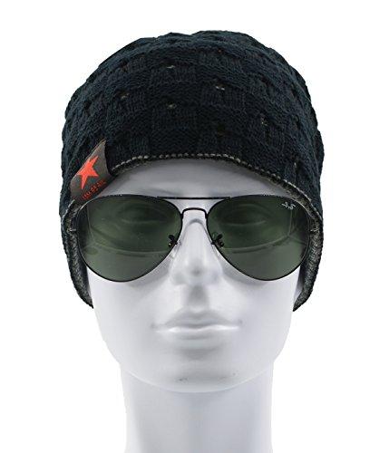 Century Star Warm Hat Mens Winter Fashion Knit Slouchy Outdoor Beanie Lightweight Skull Cap Black (Star Knit Beanie)