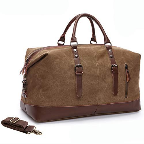 MEWAY Leather Canvas Duffle Bag ...