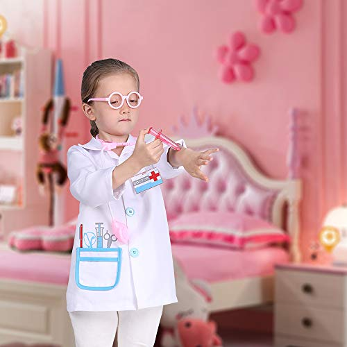 familus Kid Doctor Costume White Kid Doctor Coat for Cosplay Role Play Pretend Play - http://coolthings.us