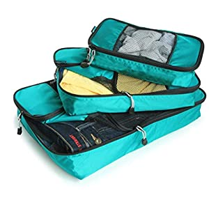 GOWETION Packing Cubes System for Travel 3 Pieces Various Sizes Set Weekender Luggage Organizer Laundry Bags for Packing (Green)