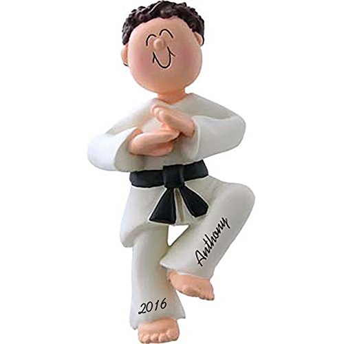 "Karate Boy Personalized Christmas Ornament -Brown Hair - Handpainted Resin - 4.5"" Tall - Free Customization by Calliope Designs"