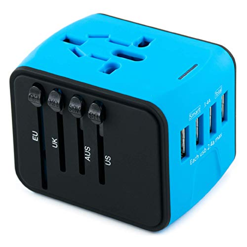 International Travel Adapter Universal Power Adaptor European Plug Converter Worldwide All in One with 2.4A 4 USB Ports and AC Socket US to Europe Plug Adapters for UK USA American EU AUS Asia (Blue)