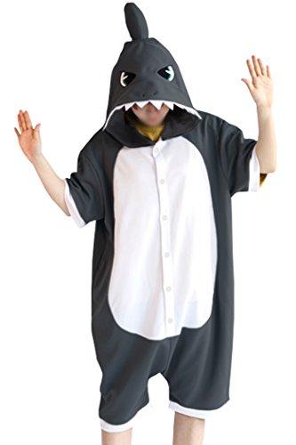 WOTOGOLD Animal Cosplay Costume Summer Shark Pajamas Short Sleeve Dark Gray -