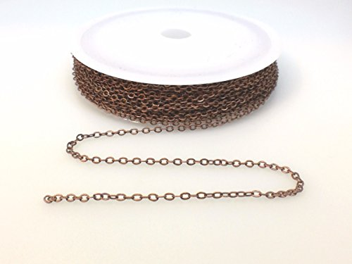 BeadsAndCrafts 32 Feet Pack, 7 Colors Available, Small Link Chain 2.1x1.7mm Dangling Chain, Antique Copper Plated Brass