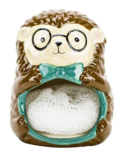 Bow Tie Hedgehog Ceramic Scrubby Holder