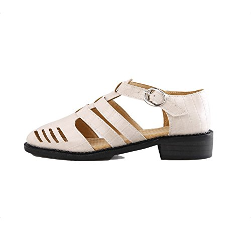 AmoonyFashion Womens Low-heels Solid Buckle Soft Material Pointed-Toe Sandals White MvMLVfzjn