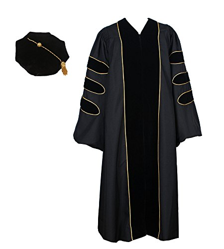 GraduationService Unisex Deluxe Doctoral Graduation Gown with Gold Piping and 8-Side Velvet Tam Package