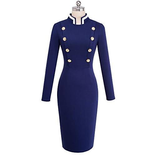 HOMEYEE Frauen Elegantes Vintage Stand Kragen Langarm Business Kleid B410