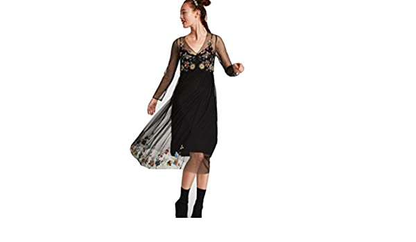 Zara Embroidered Lace Dress BNWT M Black at Amazon Womens Clothing store: