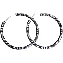 Designer Inspired 14K White Gold Plated Large 54 x 54mm Cable Twisted Hoop Earrings