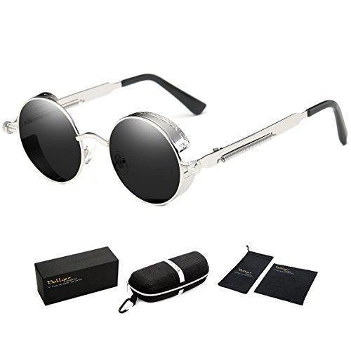 Dollger Black Steampunk Sunglasses Mens Vintage Small Circle - Men In Shades Black