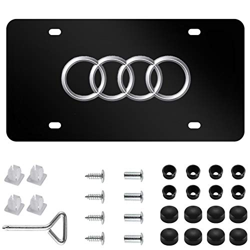 (Audi Logo Stainless Steel Front License Plate,with Screw Caps Cover Set Suit, for Audi. (DIY) )