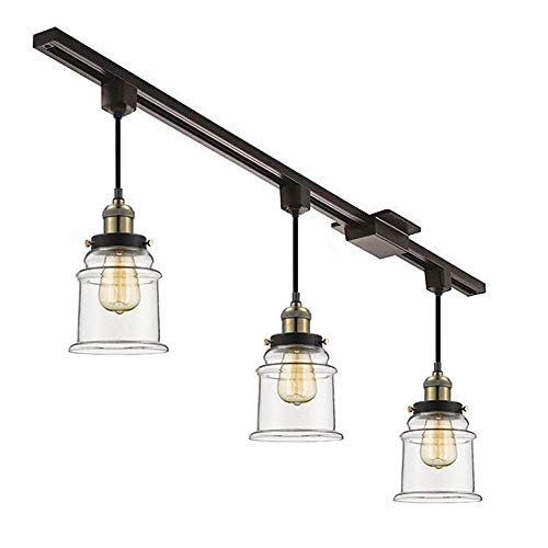 Kiven Set of 3 H-Type Track Lighting Pendants with Clear Glass ()