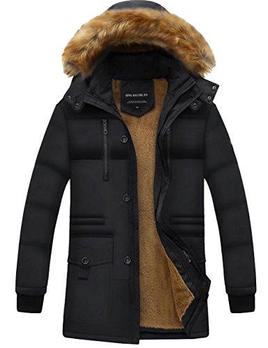 Uomo Di Menschwear Puffer Collare Piumino Jacket Pelliccia Foderato Down Pile Incappucciato Giacca Nero Addensato rRwgYqwd