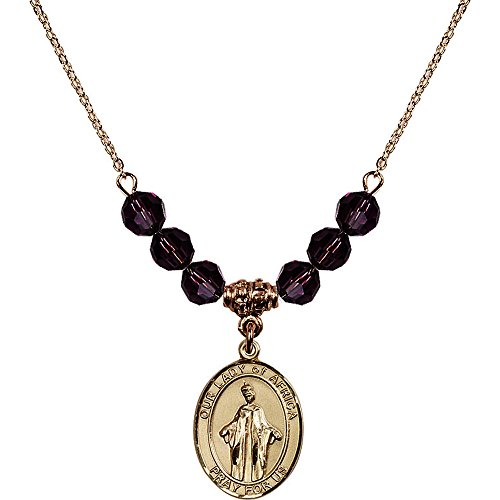 18-Inch Hamilton Gold Plated Necklace with 6mm Purple February Birth Month Stone Beads and Our Lady of Africa Charm by Bonyak Jewelry