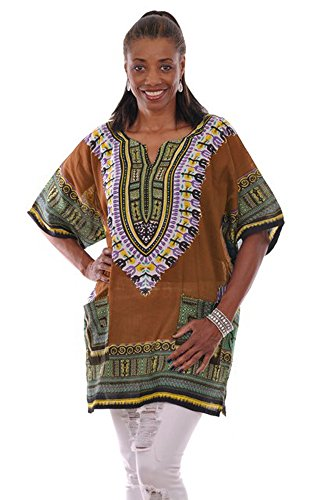 Plus Size Bronze Traditional African Print Dashiki Top (2XL) by Dupsie's