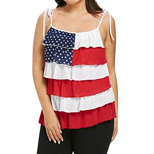 - TWinmar -Women Stripe America Flag Printed Tank Tops Summer Fashion Sleeveless Blouse Elegant Camisole (Multicolor,L)