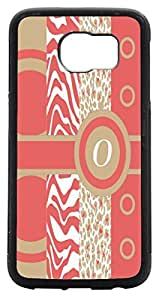 Rikki KnightTM O Initial Coral - Sand -Leopard Zebra Design Samsung? Galaxy S6 Case Cover (Black with front Bumper Protection) for Samsung Galaxy S6