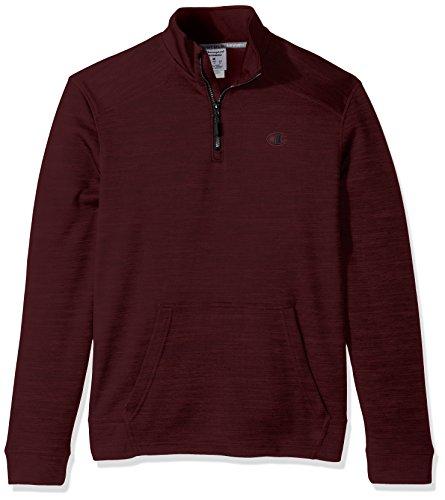 Champion Men's Premium Performance Fleece Quarter-Zip Pullover, Bordeaux Red Heather/Black, Medium