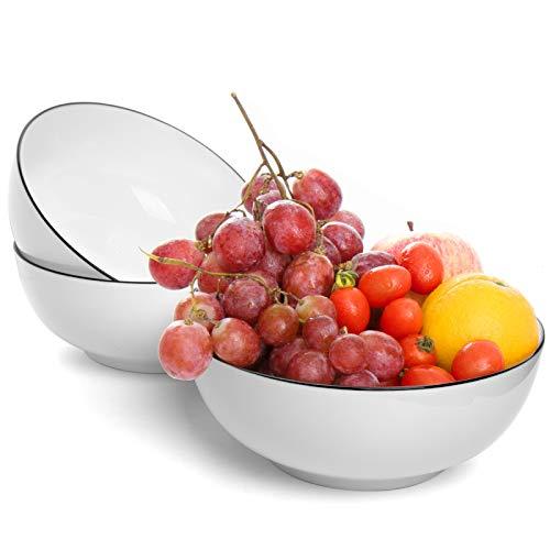 COYMOS 60oz Salad Soup Ramen Bowl,3 Pcs Porcelain Bowl-Sets for Salad,Soup and Cereal, White