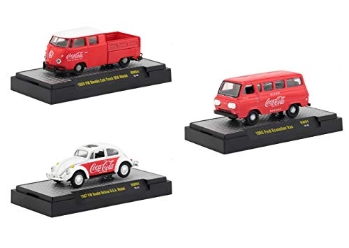 Coca-Cola Release 4, Set of 3 Cars Limited Edition to 4,800 Pieces Worldwide Hobby Exclusive 1/64 Diecast Models by M2 Machines 52500-RW04