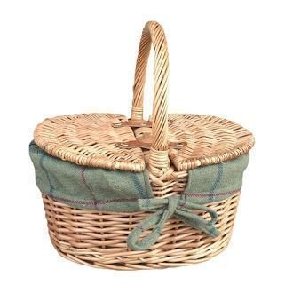Childs Light Steamed Finish Oval Picnic Basket with Green Tweed Lining by Red Hamper