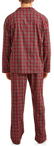 (Hanes Men's Woven Pajamas Set (Red/Green Plaid,)