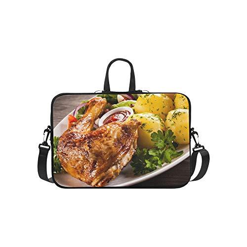 (Roast Chicken Wings and Spices Pattern Briefcase Laptop Bag Messenger Shoulder Work Bag Crossbody Handbag for Business Travelling)