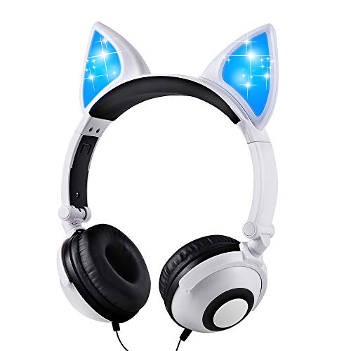 Esonstyle Kids Headphones Over Ear with LED Glowing Cat Ears,Safe Wired Kids Headsets 85dB Volume Limited, Food Grade Silicone, 3.5mm Aux Jack, Cat-Inspired (led cat Ear Kids Headphones-White)