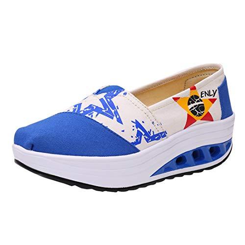 Deporte Zafiro Running de Mocasines Tacon Plataforma Zapatos LINNUO Cuña Zapatillas Sneaker Verano Loafers de Mujer Wedge Casual 7Xfw4Uxqa8