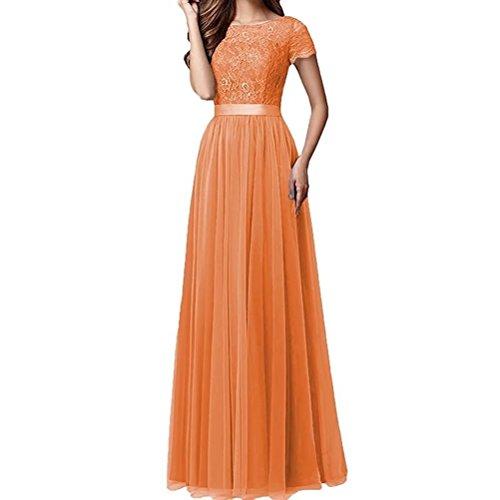 Braut Promkleider Abendkleider Orange Brautmutterkleider Marie La Abiballkleider Spitze Damen Kurzarm Burgundy 7CFC8xwq