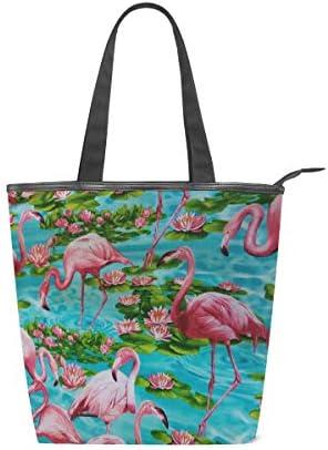 MNSRUU Große Handtasche aus Segeltuch, für den Strand, für Reisen, Shopping, Schultertasche, Flamingo am Lotussee, Sommerurlaub, mit Reißverschluss
