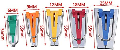 Finetoknow Set of 4//5 Fabric Bias Tape Maker Binding Tool Quilting Sewing 6//9//12//18//25mm