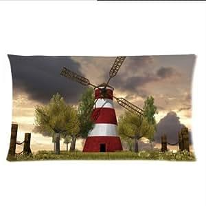 fashion Windmill design¡ê?Beautiful Dutch windmill pattern Two Side custom Pillowcase¡ê?pillowcover 16x24 Inch