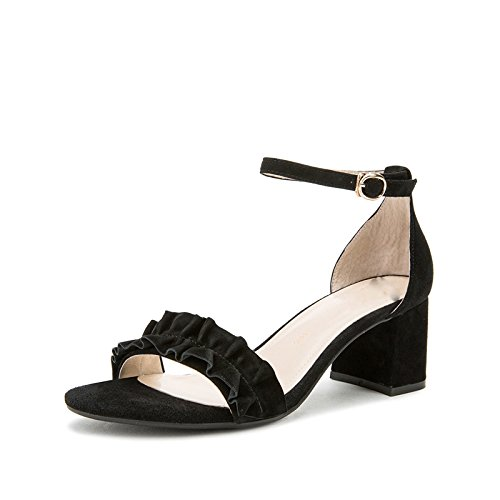 Sandali donna moda basso tacco con estivi basso piatti Sandali alti DHG Pantofole 39 casual alla Nero a da Tacchi tacco Sandali x1w40anqYI