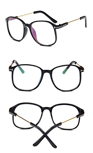 Nuni Lightweight Transparent Plastic Frame Metal Arm Square Eyeglasses (glossy black, clear) (Plastic Transparent Frame)