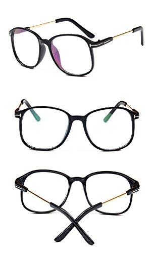 Nuni Lightweight Transparent Plastic Frame Metal Arm Square Eyeglasses (glossy black, clear) (Frame Transparent Plastic)