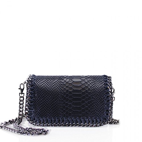 Ladies Real Leather Snakeskin Embossed Stich Effect Chain Trim Cross Body Bags Women Girls Shoulder Bags Navy