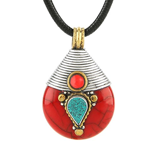 HZMAN Vintage Handmade Tibetan Turquoise Pendant Necklace from Nepal,Yoga Jewelry (Red)
